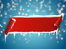 Red Banner With Snow And Icicl...