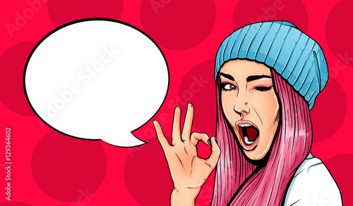 Pop Art Vintage advertising poster comic girl with speech bubble Fototapet