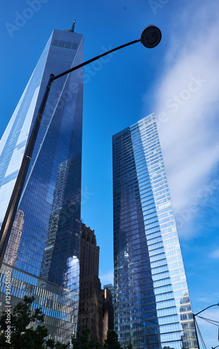 NEW YORK CITY - SEPTEMBER 26, 2016: One World Trade Center and an adjacent  skys Canvas Print