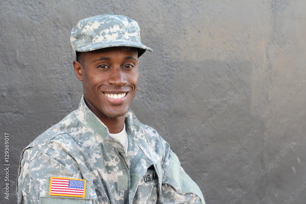 Fototapeta African military male smiling and laughing