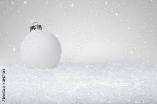 White Christmas Snow Background.Plain White Christmas Bauble On A Fake Snow Background Buy