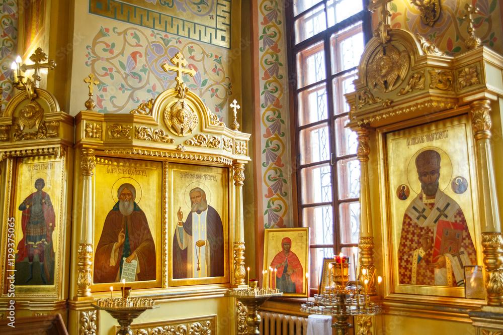 Fototapety, obrazy: icons Interior of russian orthodox church