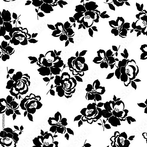 Foto op Canvas Bloemen zwart wit テクスチャー, 花のパターン