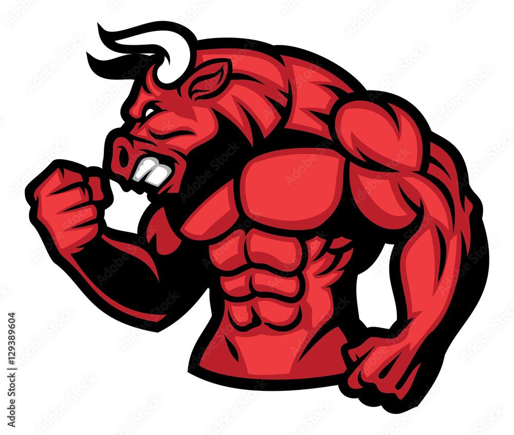 Fototapeta huge muscle of red bull