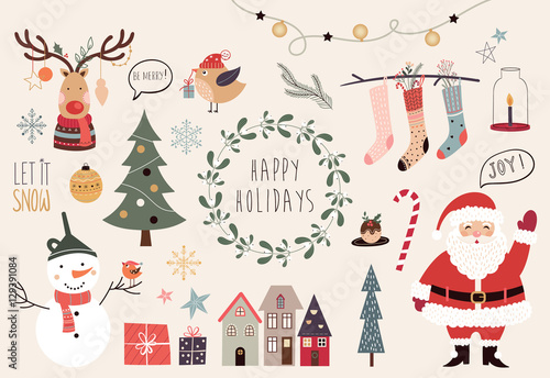 Foto  Christmas collection of hand drawn decorative elements
