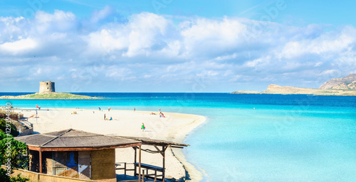 Fényképezés  Beautiful sandy beaches of Mediterranean, La Pelosa, Stintino, Sardinia, Italy
