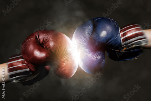 Republicans and Democrats in the campaign symbolized with Boxing Canvas-taulu