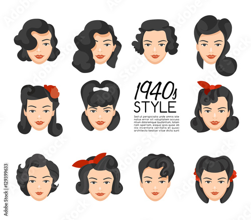 Fotografia  1940s Vintage Hairstyle : Vector Illustration