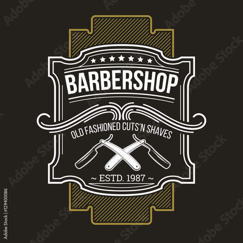 Vector barbershop emblem, signage Wallpaper Mural