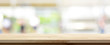 canvas print picture - Wood table top on blur kitchen window background, panoramic banner