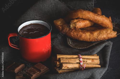 Tuinposter Klaar gerecht Hot Chocolate with churros