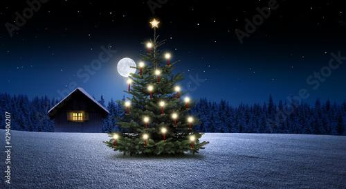 Valokuva  Weihnachtsbaum mit Kerzen
