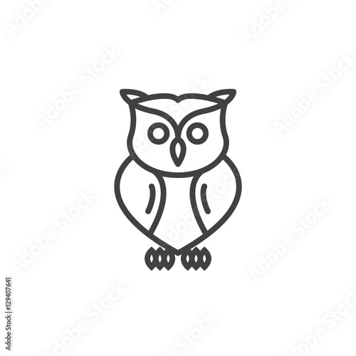 Photo Stands Owls cartoon Owl line icon, outline vector sign, linear pictogram isolated on white. Symbol, logo illustration
