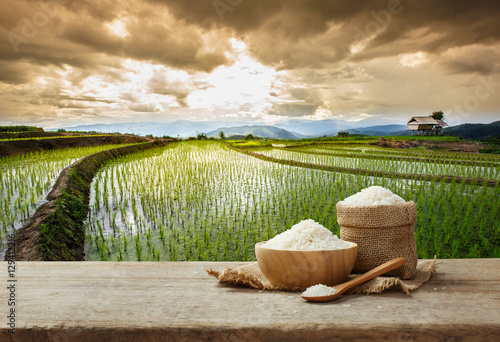Fotografie, Obraz  Jasmine rice in bowl and sack on wooden table with the rice fiel