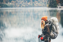 Woman With Backpack Hiking Lif...