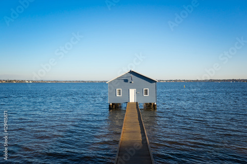 Sunset over the Matilda Bay boathouse in the Swan River in Perth, Western Australia Canvas Print