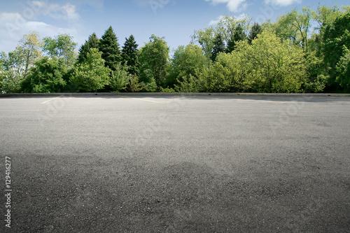 Spoed Fotobehang Weg in bos Empty street at the nice and comfortable great garden