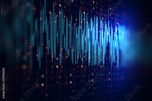 Fotografie, Obraz  Audio waveform abstract technology background