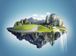 canvas print picture - Magic island with floating islands, water fall and field