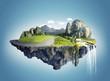 Leinwandbild Motiv Magic island with floating islands, water fall and field