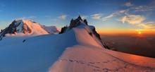 Mountain Sunset And Snow Chamonix