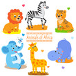 Cartoon Forest Animals Pack. Cute Vector Set. Vector Tiger. Vector Giraffe. Vector Hippo. Vector Lion. Vector Elephant. Vector Zebra. Forest Animals Toys. Cartoon Animals Baby. Forest Animals.