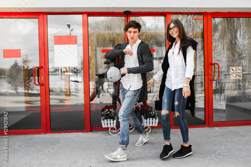 Fotografie, Obraz  nice girl and boy
