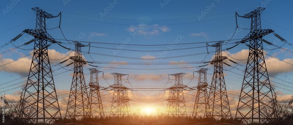 Fototapeta High Voltage Electric Transmission Tower Energy Pylon.