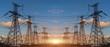 Leinwandbild Motiv High Voltage Electric Transmission Tower Energy Pylon.