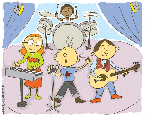 Music kids Child's hand drawing vector illustration on happy child