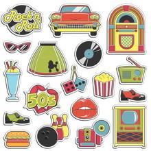 Vintage 1950s Retro Style Stickers Set