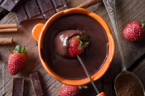 Foto op Plexiglas Chocolade chocolate fondue