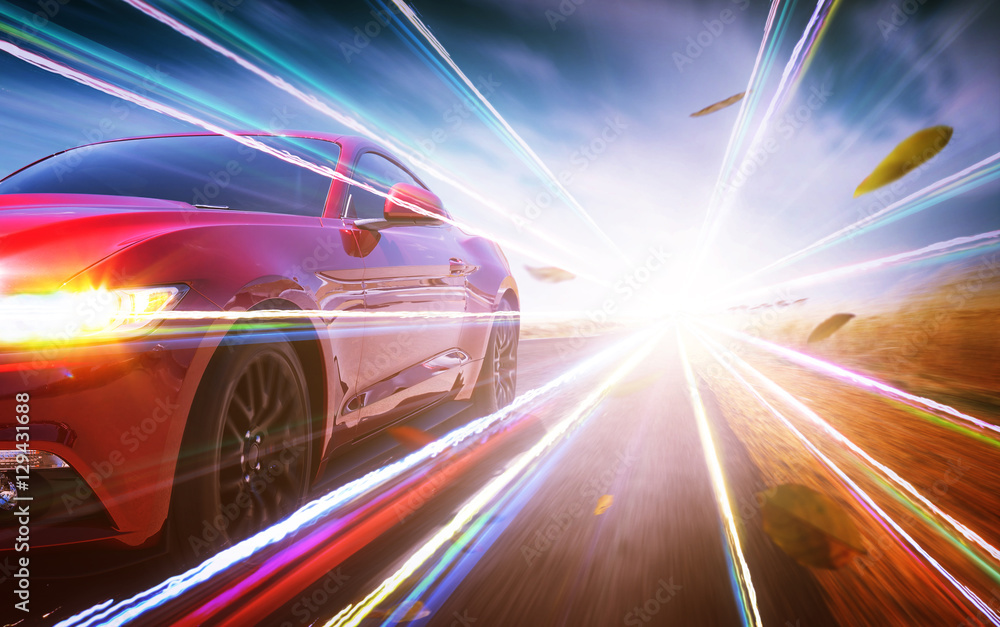 Fototapety, obrazy: Red race car with light effect.