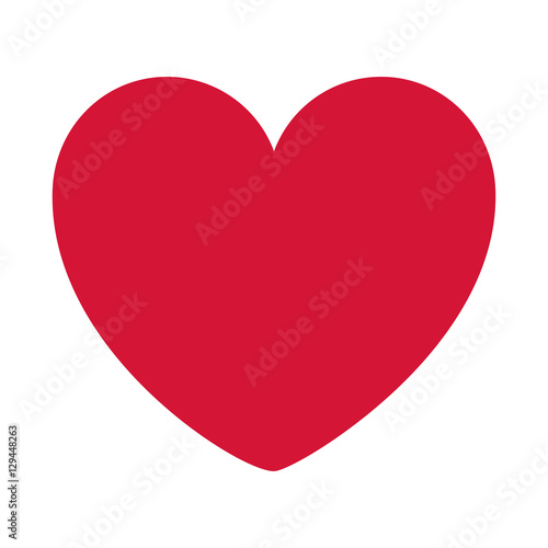 red heart design icon flat vector illustration