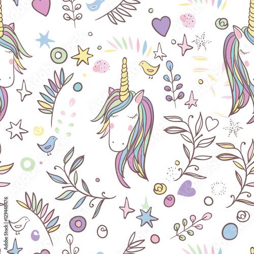 Cotton fabric Unicorn Rainbow seamless pattern