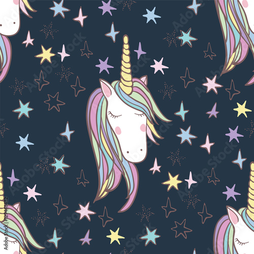 Unicorn Rainbow seamless pattern Lerretsbilde
