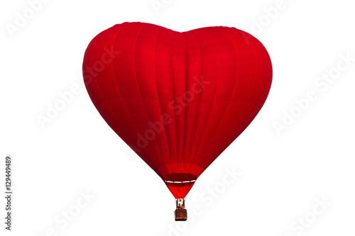 Hot air red heart shaped balloon isolated on white background