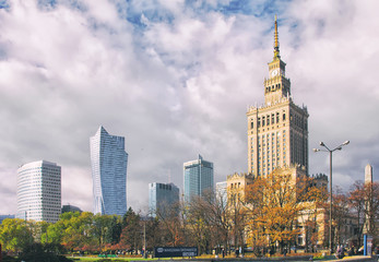 Warsaw downtown district skyscrapers.