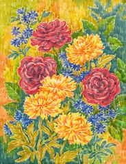 FototapetaАкварельная живопись, цветы. Розы и астры.