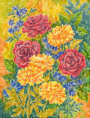 Акварельная живопись, цветы. Розы и астры. - 129452628