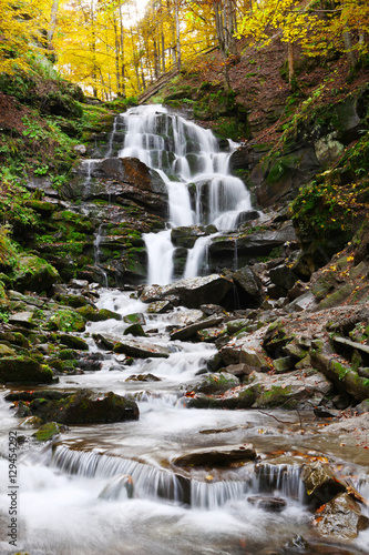 Naklejka na szybę Beautiful view of the waterfall in the beech forest in the golden autumn season.