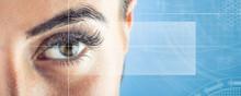 Close-up Of Woman's Eye. Macro Beautiful Female Eye.New Futuristic And Technology  Concept.
