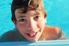 Preteen Boy In Swimming Pool C...