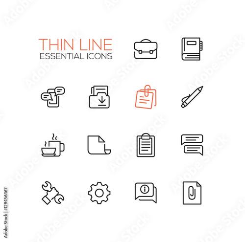 Fotografía  Business, Office - Thin Single Line Icons Set