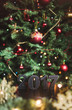 New Year, numbers wood, garlands and Christmas tree with toys
