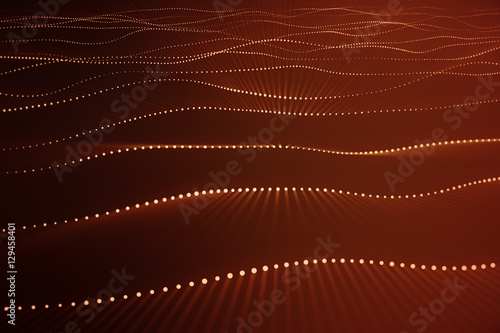 3d rendering abstract polygonal wave background with connecting dots and lines. Connection structure. Computer HUD. Flow. Wave. Red Lines and dots.