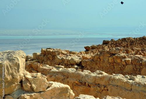 Fotobehang Midden Oosten Blick von der Festung Masada zum Toten Meer