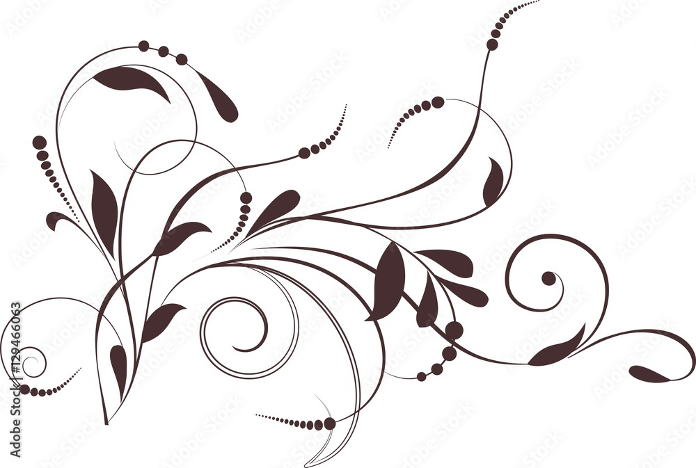 Fototapety, obrazy: Floral background with decorative branch. Vector illustration.