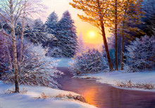 Christmas Forest With River