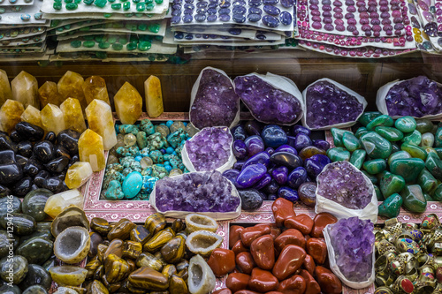 Selection of precious and semiprecious stones on the market